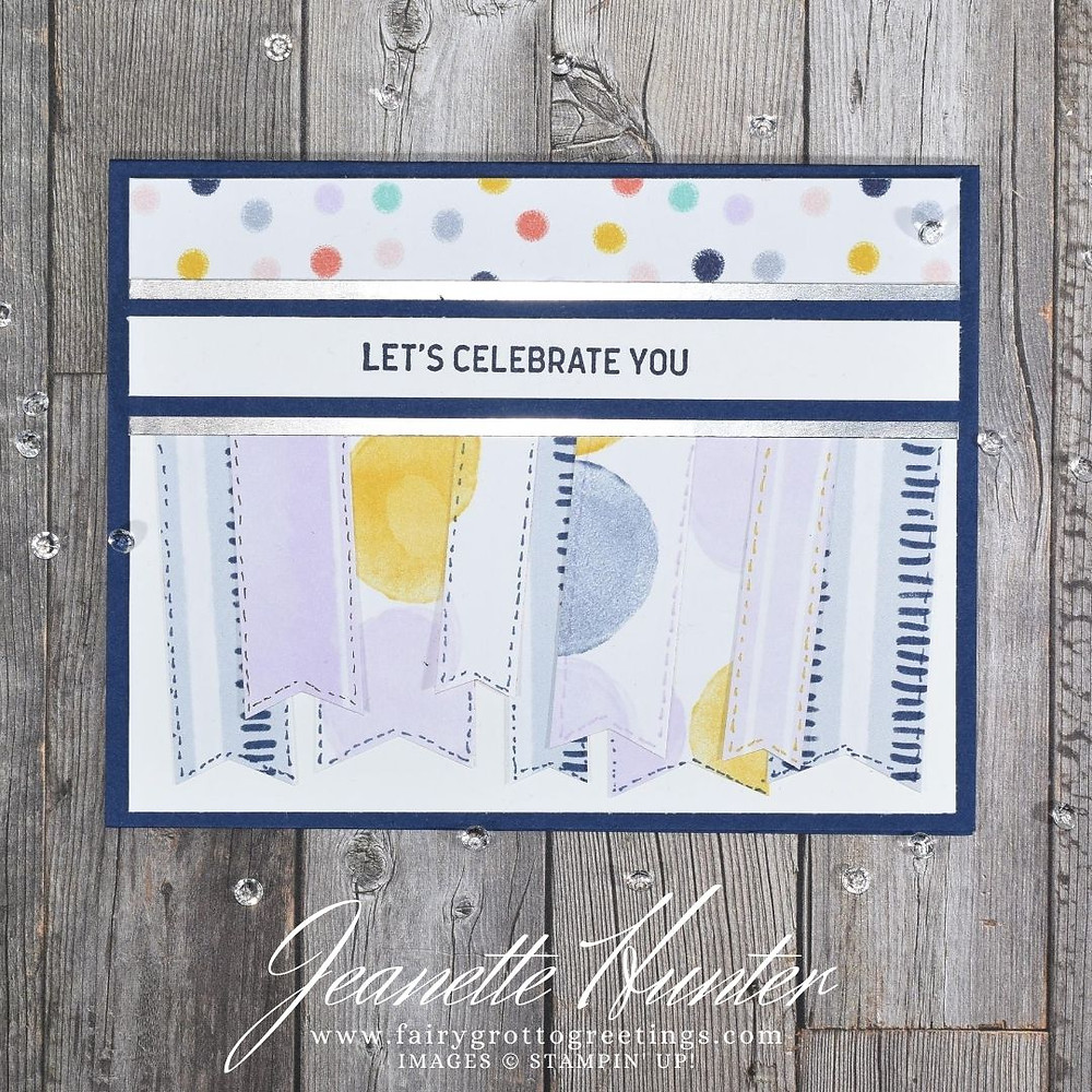 Image of handmade card using Stampin' Up! products.  Features the Itty Bitty Birthdays stamp set and Playing with Patterns designer series paper. Done in Night of Navy, Purple Posy and Crushed Curry colors.