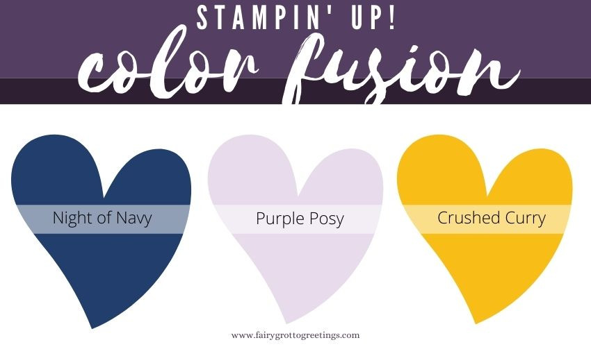 Stampin' Up! Color Fusion inspiration in Night of Navy, Purple Posy and Crushed Curry colors.
