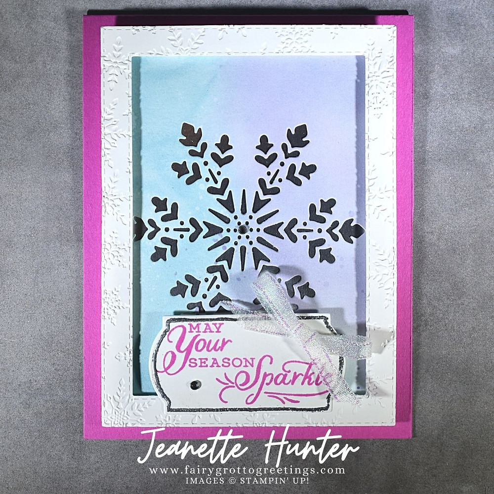 Image of handmade card using Stampin' Up! products.  Features the Snowflake Splendor suite. Done in Magenta Madness, Balmy Blue and Highland Heather colors.