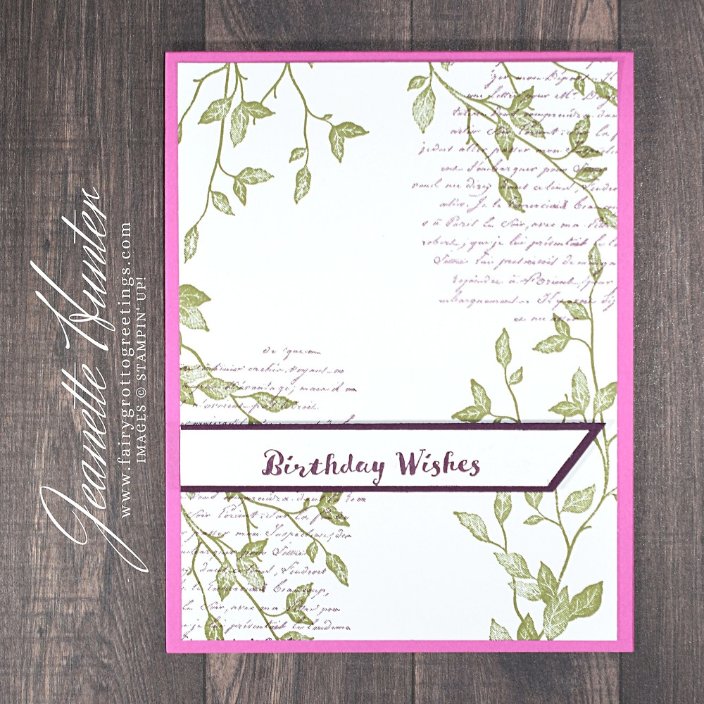 Image of handmade card using Stampin' Up! products.  Features the Very Versailles stamp set. Done in Blackberry Bliss, Magenta Madness and Old Olive.