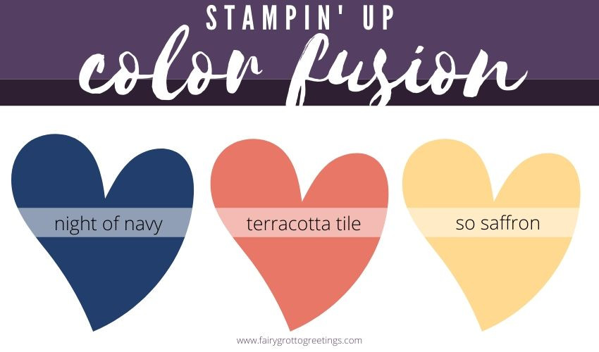 Color Fusion image featuring Stampin' Up! colors Night of Navy, Terracotta Tile and So Saffron