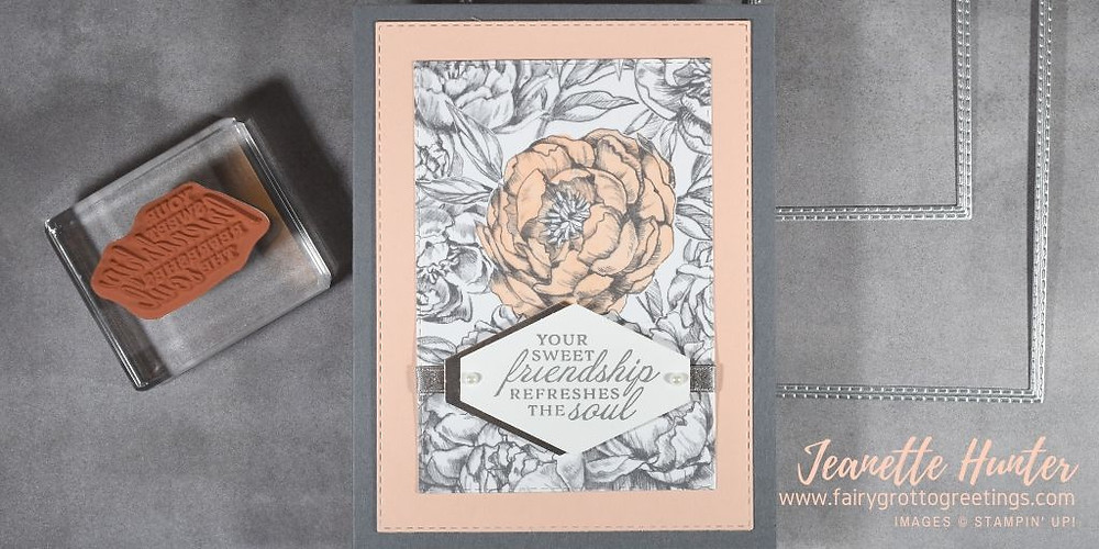 Image of handmade card using Stampin' Up! products.  Features the Prized Peony stamp set and matching Peony Garden designer series paper. Done in Basic Gray, Petal Pink and Silver (foil) colors.