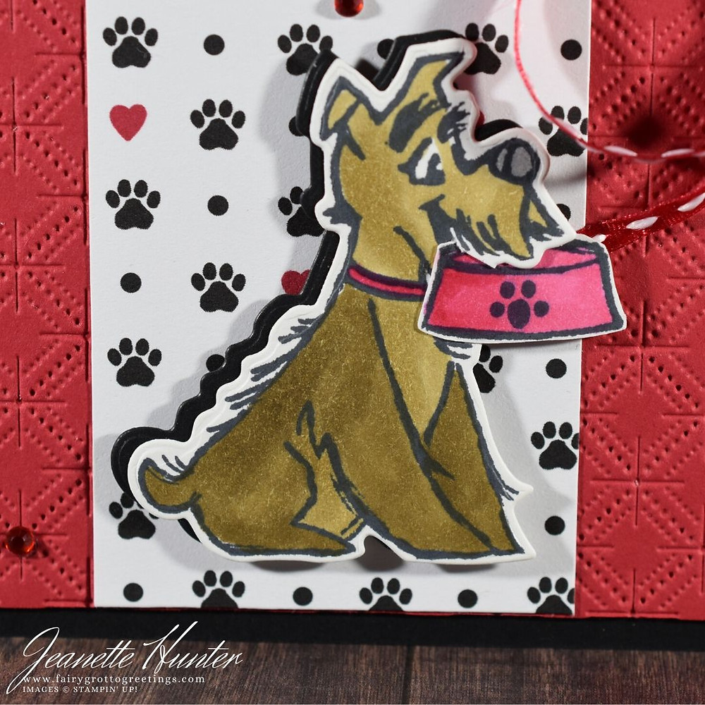 Image of handmade card using Stampin' Up! products.  Features the Playful Pets Suite. Done in Basic Black, Real Red and Soft Suede colors.