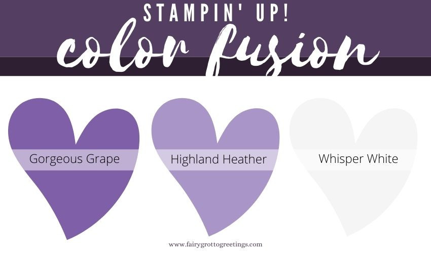 Stampin' Up! Color Fusion inspiration in Highland Heather, Gorgeous Grape and Whisper White.