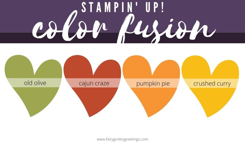 Stampin' Up! Color Fusion inspiration in Old Olive, Cajun Craze, Pumpkin Pie and Crushed Curry