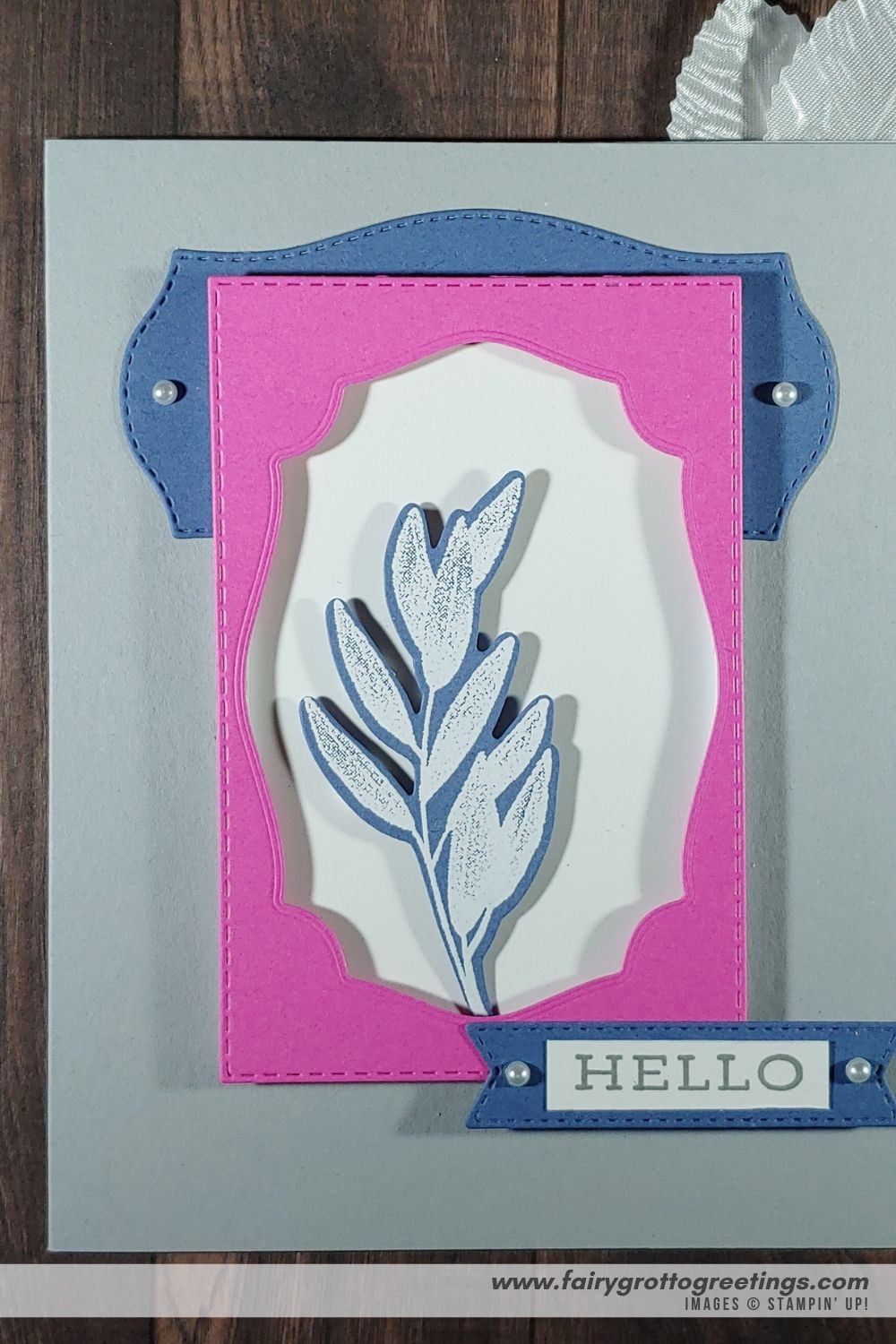 Image of handmade card using Stampin' Up! Products.  Features the Forever Fern stamp set, matching Forever Flourishing dies and Tasteful Labels dies. Done in Misty Moonlight, Magenta Madness and Smoky Slate colors.