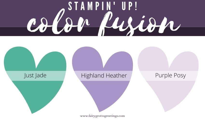 Stampin' Up! Color Fusion inspiration in Just Jade, Highland Heather and Purple Posy colors.