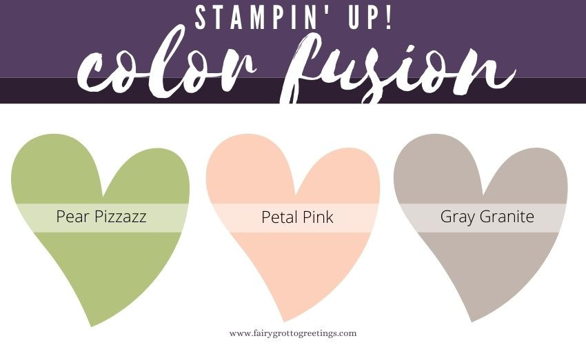 Stampin' Up! Color Fusion inspiration in Gray Granite, Pear Pizzazz, Petal Pink and Whisper White.
