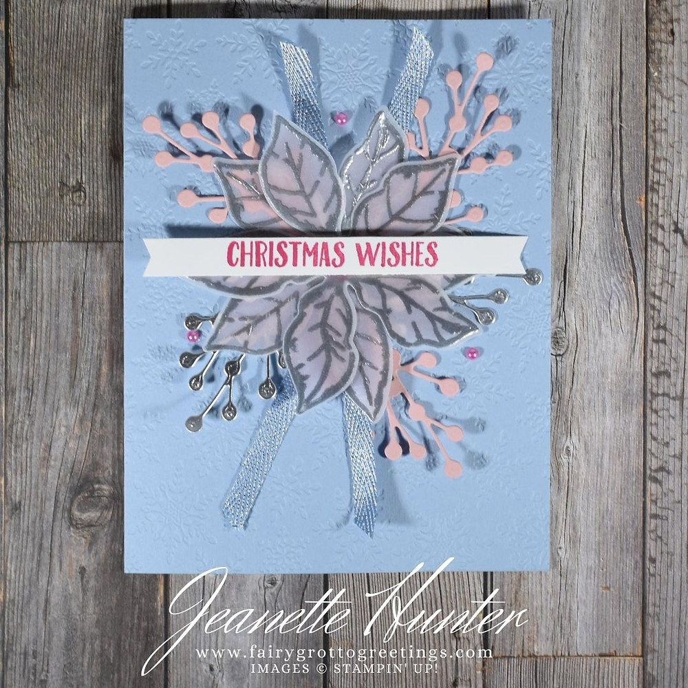 Image of handmade card using Stampin' Up! products.  Features the Poinsettia Place suite and Banner Year bundle. Done in Seaside Spray, Blushing Bride and Melon Mambo.