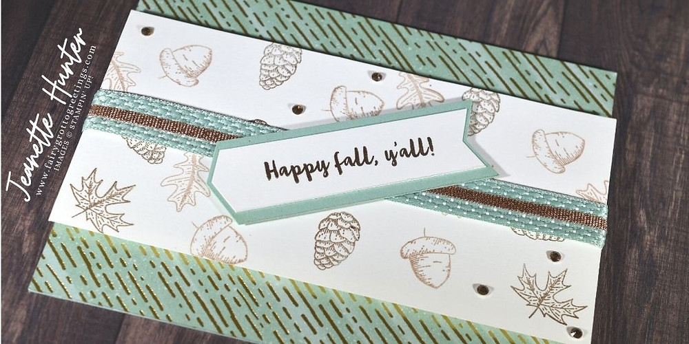 Image of handmade card using Stampin' Up! products.  Features the Banner Year Suite, Beautiful Autumn stamp set and Gilded Autumn designer series paper. Done in Mint Macaron, Crumb Cake and Early Espresso colors.
