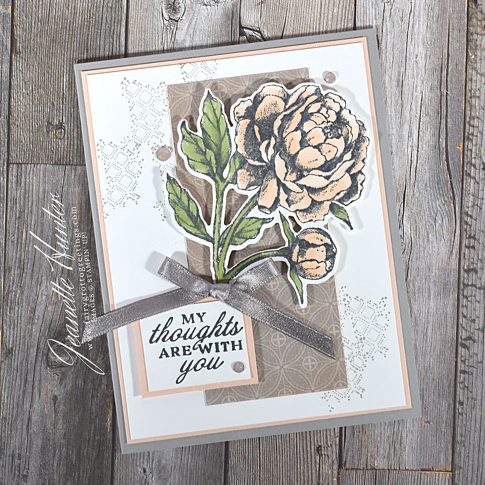 Image of handmade card using Stampin' Up! products.  Features the Peony Garden Suite collection. Done in Gray Granite, Pear Pizzazz, Petal Pink and Whisper White.