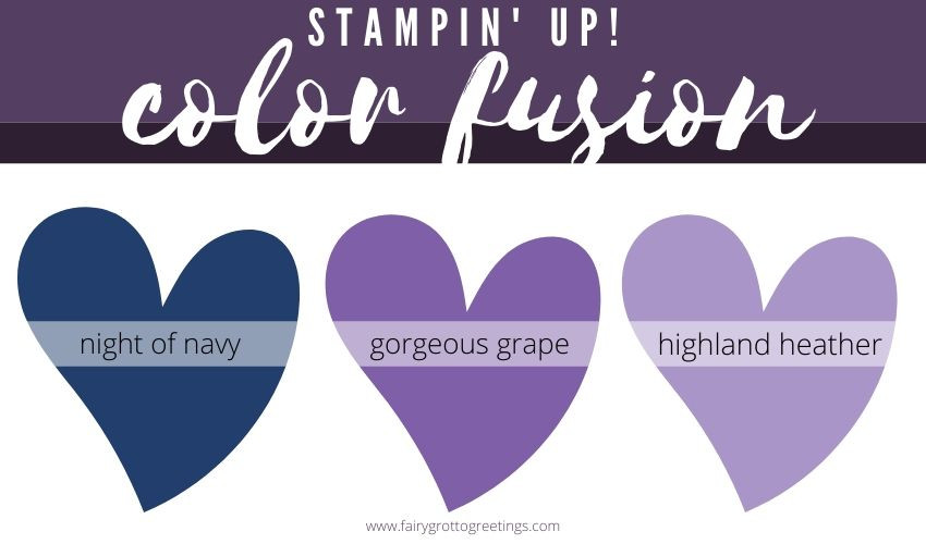 Stampin' Up! Color Fusion inspiration in Night of Navy, Gorgeous Grape and Highland Heather.