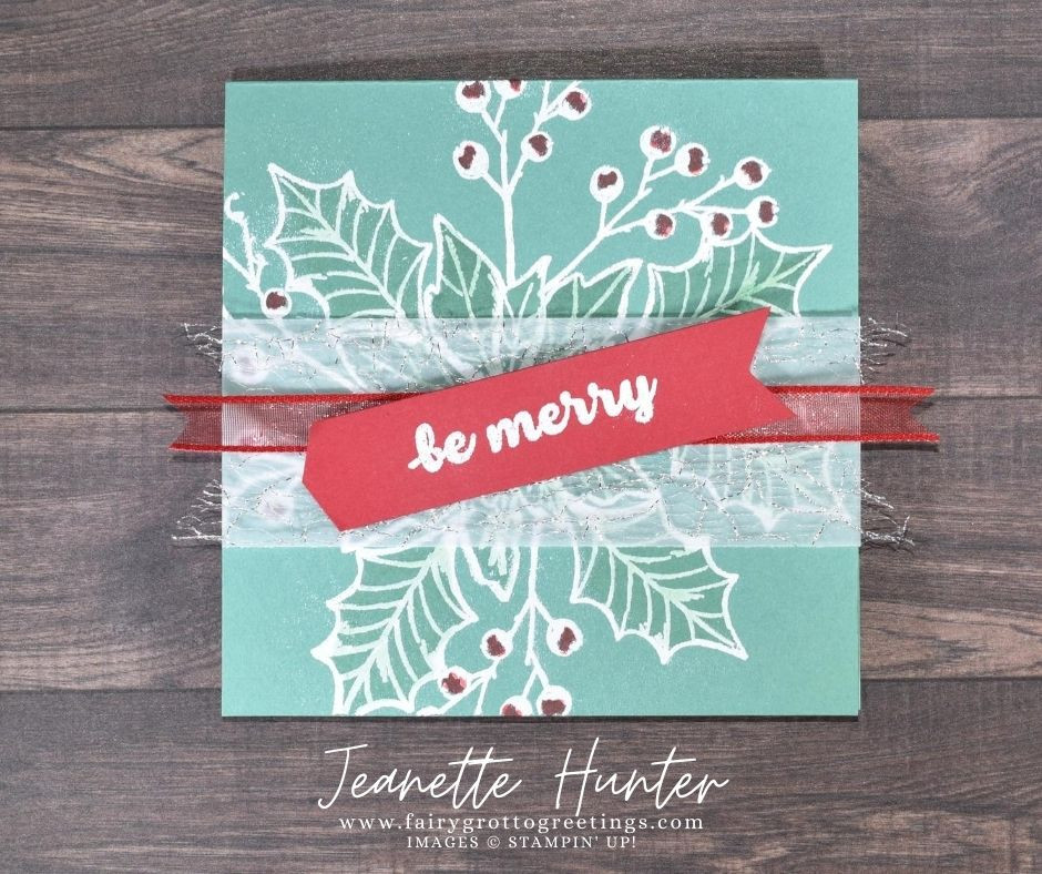 Image of handmade card using Stampin' Up! products.  Features the Poinsettia Petals stamp set. Done in Just Jade and Real Red colors.