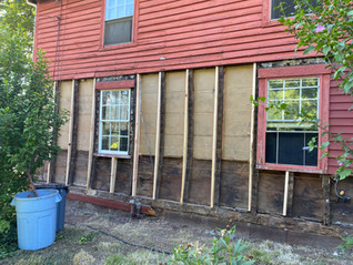 Removed siding in bowing section