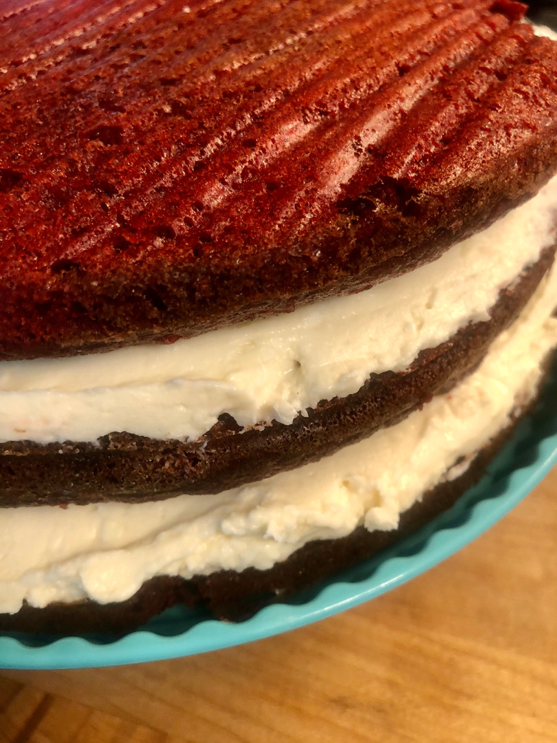 Keto Red Velvet Cake Before the Cream Cheese Icing