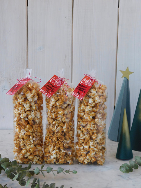 popcorn caramel d'érable, emballage des fêtes