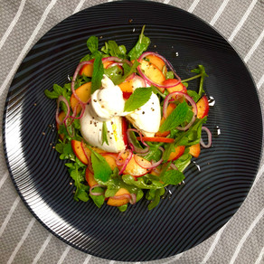 Burrata With Pickled Nectarine And Red Onion Salad