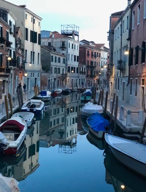 Venice - canal + bridge dusk view