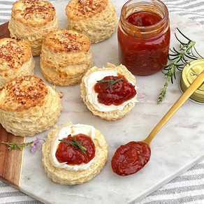 Cheese and rosemary scones topped with mascarpone and my homemade spiced tomato relish