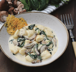 Gorgonzola Gnocchi with Mushroom, Spinach and Parmesan Crisps