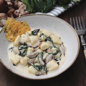 Gorgonzola Gnocchi with Mushroom, Spinach and Parmesan Crisps