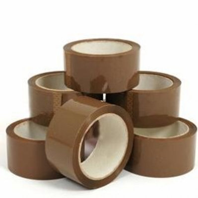6 x LONG LENGTH PACKING TAPE STRONG - BROWN 48mm x 66M