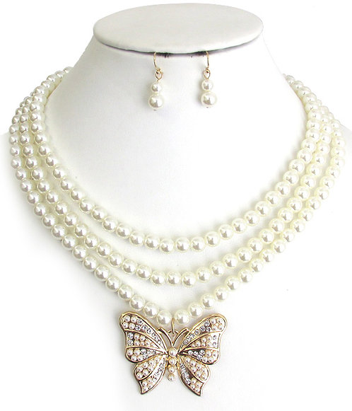 Layered Butterfly Pearl, Necklace Set