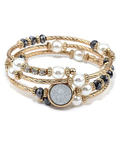 Multi-Beaded & Stone Bracelet