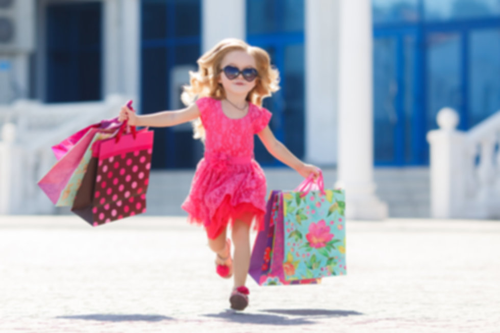 cute little girl on shopping. portrait o
