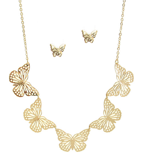 Linked Butterfly Necklace Set