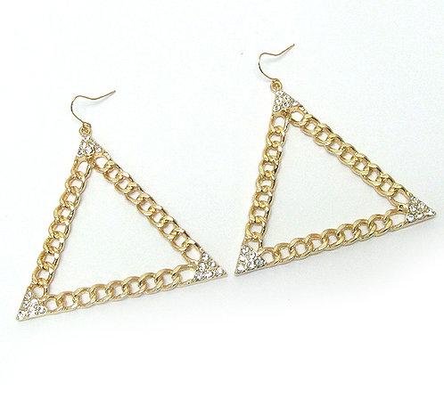 Linked Triangle Crystal Earrings