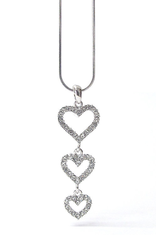 Three Times a Charm Heart Necklace