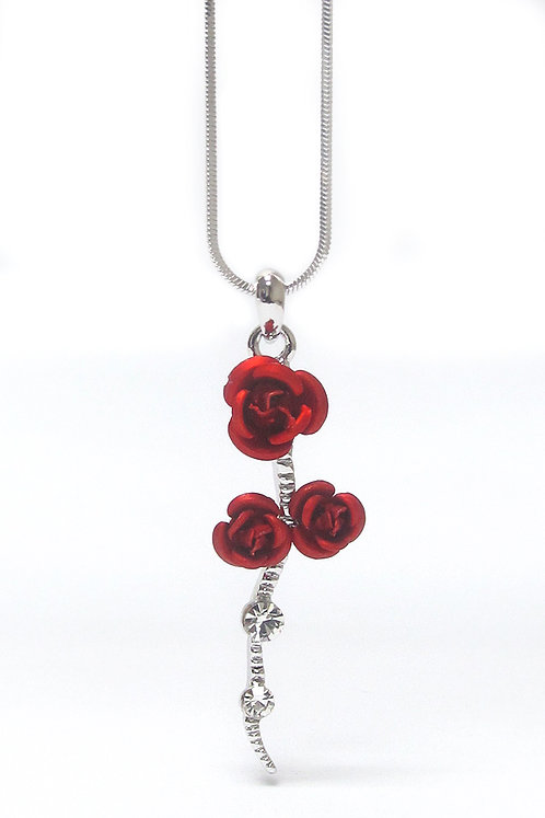 Triple Red Rose Necklace
