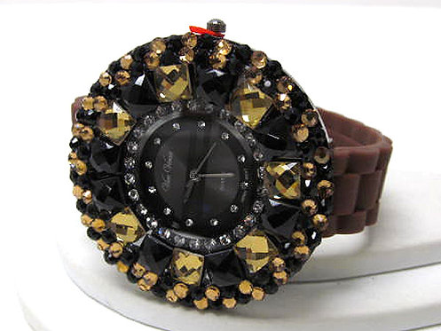 Blinged-out Round Face Watch