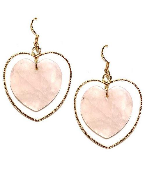 Stone & Edgy Heart Earrings