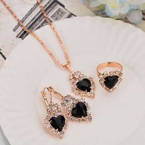 Sparkle Heart Necklace Set