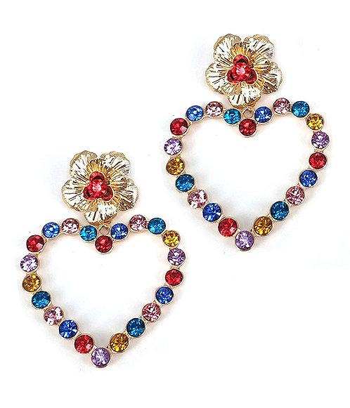 Flower-Heart of many Colors Earrings