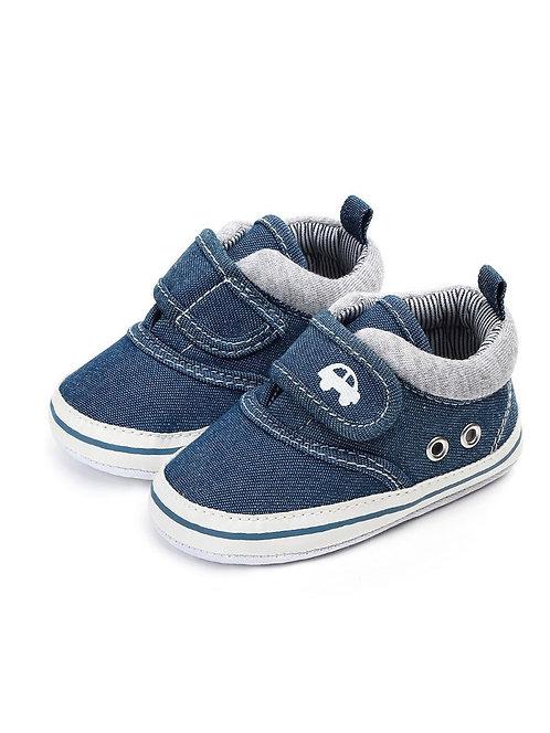 Denim Velcro Crib Shoes