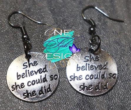 Silver Alloy Inspiration Earrings