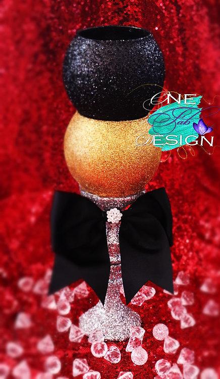 Black, Gold, Silver Glitter Vase