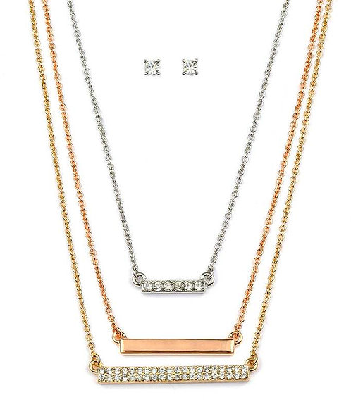 Layered Crystal-Plate Necklace