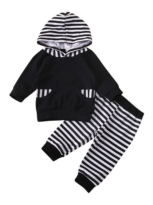 Hooded Striped Jogger Suit