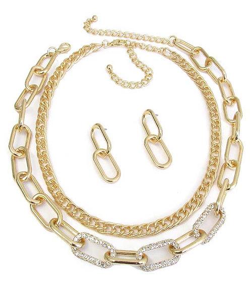 Fancy Crystal Link Chain Set