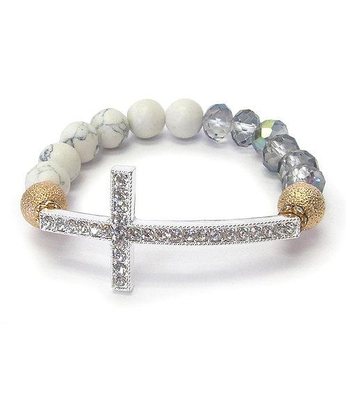 Crystal-Cross Beaded Bracelet