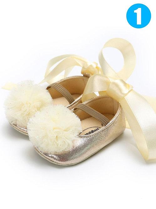 Girl Tulle Flower Crib Shoes