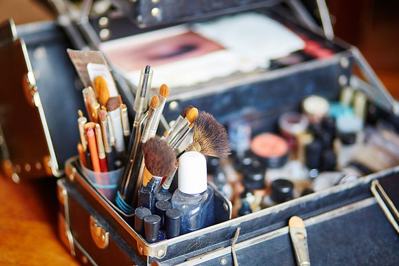 Makeup brushes in a makeup artist case.j