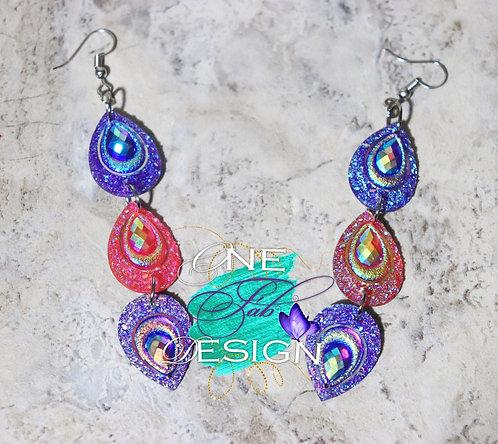 3 Tier Peacock Glitz Earrings