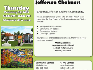 Jefferson Chalmers Neighborhood's Next Meeting About Next Steps With Fox Creek Artscape Coming F