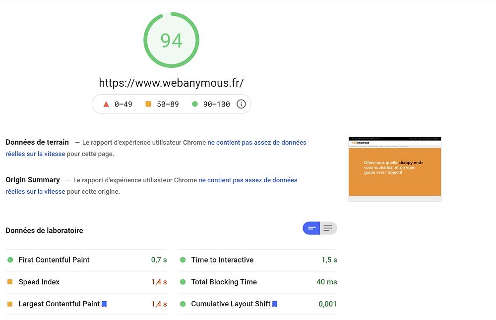 Speed Test de Google