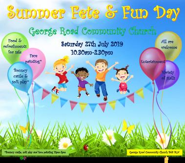 Summer fete Saturday 27th July 2019